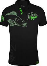 HOTSPOT DESIGN Fishing Mania Zander, schwarz-grün, Zanderangler Poloshirt