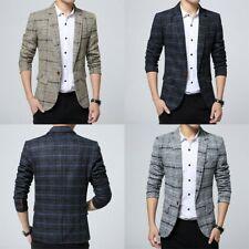 Mens Check Plaid Wool Feel Suit Jacket Notch Lapel Blazer Tops Coat Smart Formal
