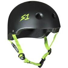 Scooter/Roller Derby/Skate Helmet. S1 Helmet Co Lifer Helmet - Black/Green Strap