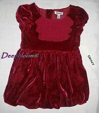 DKNY VELOUR DRESS GIRLS 4 4T RED PLUM BUBBLE NEW $55