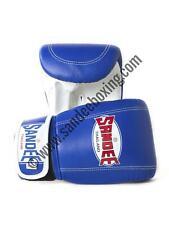 Sandee Velcro Blue & White Leather Bag Gloves/Mitts MMA Muay Thai Boxing