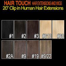 "20"" Clip in Human Hair Extension 1 pce /3 pcs /half head /full head color choice"