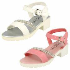Girls Spot On Mid Heel Diamante Strap Ankle Buckle Sandal H1017