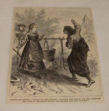 1880 magazine engraving ~ WOMAN'S SOAP KETTLE