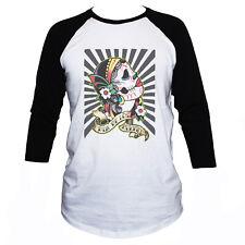 Mexican Skull T Shirt Manches 3/4 Punk Goth Imprimé Graphique T-Shirt Homme/Femme