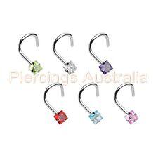 Gem Square Nose Twist Bar Stud Ring Body Piercing Jewellery