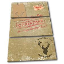 Hessian Burlap Vintage Christmas TREBLE CANVAS WALL ART Picture Print