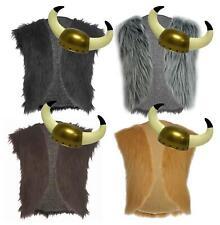 Childs Asterix Viking Faux Fur Waistcoat & Horned Helmet Norse Fancy Dress Set