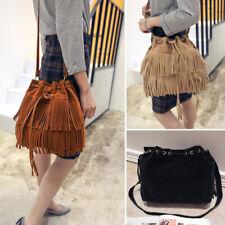 Vintage Women Girl Tassel Handbag Crossbody Fringe Shoulder Bag Messenger Bucket