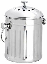 Eddingtons Mini Stainless Steel Kitchen Compost Bin Pail With Filiter 2.25l