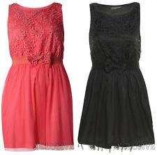 New Womens Plus Size Crochet Lace Fisch Net Blume Bogen-Detail-Kleid