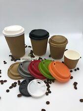 Kraft Ripple Paroi Papier Tasses café thé 100 x 12 oz (environ 340.19 g) Chaud Froid Boissons & Sip Lids