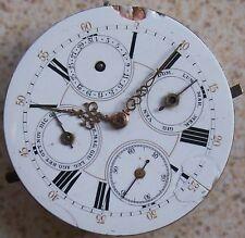 Triple Date Pocket watch Movement and enamel Dial 43 mm. in diameter