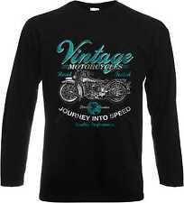 Maniche lunghe/Maglia a maniche lunghe in nero con Biker Chopper-&Old