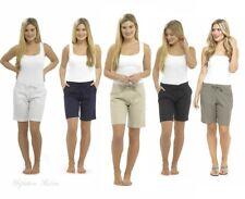 Womens Knee Length Linen Shorts Ladies Size 10 12 14 16 18 20 Black Beige Navy