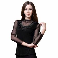 100% Silk Knit Womens Long Sleeve Shirt Mesh Turtleneck W/ Beads Top Blouse