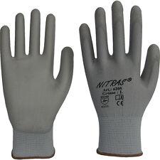 6 Paires de gants de manutention Nylon, revêtus PU (taille au choix)