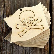 10x de madera formas de artesanía Bandera De Pirata Disfraz de madera contrachapada Cráneo Calavera 3mm