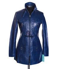 Ladies LAUREN ROYAL BLUE New Safari Style Real Soft Lambskin Nappa Leather Coat