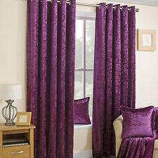 Crushed Velvet Lined Eyelet Curtains Plum