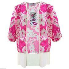 Nuevo Chicos Chicas Rosa florado verano Kimono con Tassles Cárdigan Chaqueta