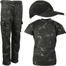 BOYS ARMY SOLDIER OUTFIT KIDS TROUSERS T-SHIRT CAP FANCY DRESS SAS BLACK CAMO
