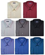 Mens Formal Shirts Long Sleeve Stylish Plain Coloured Big Sizes 3XL 4XL 5XL 6XL
