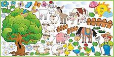 WANDTATTOO FARM Kuh Pferd Schaf Schwanz Wanddekoration Vinyl Aufkleber SET 1