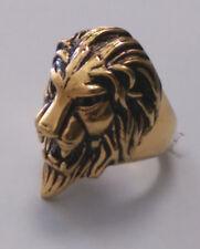 Men's Stainless Steel Gold Lion Head Ring