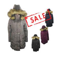 AMAVISSE UK - (RRP £40) Fashion Puffy Puffer Long Parka Jacket Coat Fur Hood