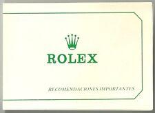 ROLEX Card Vintage Recommendation Tarjeta de recomendacion Rolex VINTAGE