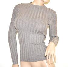 MAGLIETTA BEIGE TORTORA donna maglione manica lunga ricamata sottogiacca A23