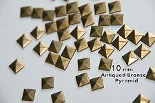 100pcs 10mm Bronze  Pyramid Flat Back Studs Hotfix  Iron On Glue on - Flatback