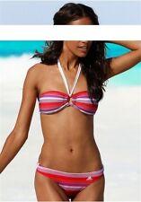 2tlg. Adidas Bikini a Fascia Nuovo Gr.34,36,38,42 Donna Rosso / Lilla/Bianco