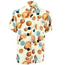 Men's Loud Shirt TAILORED FIT Money White Blue Retro Psychedelic Fancy