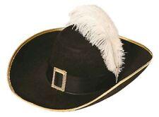 Musketierhut in schwarz mit Schnalle zum Musketier Kostüm Karneval Fasching