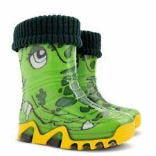 Crocodile Kids Boys Girls Wellies Wellington Rainy SnowBoots +FLEECE-LINED Sock