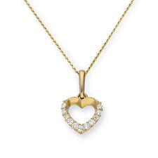 REAL 375 9ct GOLD & Cancella CZ cristallo tagliato Cuore Ciondolo Collana Catena su
