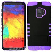 For Samsung Galaxy S9 & S9 Plus - PURPLE Silicone BLACK Hard Cover Hybrid Case
