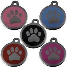 acciaio inox zampa animale domestico MEDAGLIETTA 32mm diversi colori