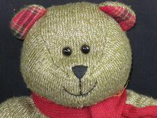 2009 STARBUCKS BEARISTA 88TH PLUSH BEAR STUFFED ANIMAL RED PLAID KNIT TOY
