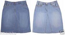 RRP £28 size 8 - 20 stretch denim knee length skirts blue denim wash *LICK*