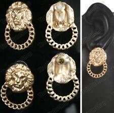 CLIP ON EARRINGS lion heads GOLD TONE vintage retro chunky DOOR KNOCKER hoops