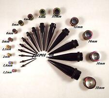 verschiedene Sets 1,2mm-18mm Tunnel Titan,eloxiert rainbow Dehnstab Acryl