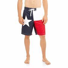 Men's Texas Flag Patriotic USA Red White Blue Lone Star Swim Trunk Board Shorts