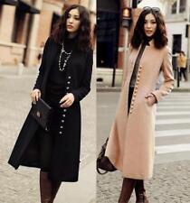 Fashion Women Super Long Trench Coat Single-Breasted Peacoat Overcoat Outwear 17