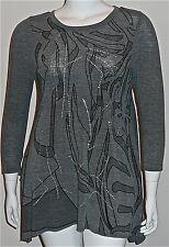 Beautiful! Rhinestone Grey Abstract Asymmetrical Tunic Sweater Plus 14W 16W 18W