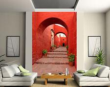 Papier peint géant 2 lés, tapisserie murale déco Ruelle rouge réf 124