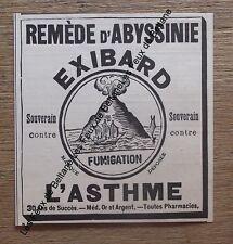Publicité ancienne,Reméde d'Abyssinie,Exibard,asthme,fumigation 1900, advert