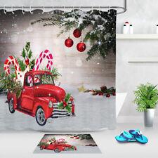 Fabric Shower Curtain Set Retro Red Truck Christmas Tree Crutch Bathroom Decor